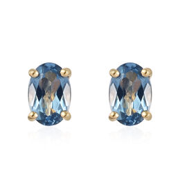 ILIANA 18K Yellow Gold AAA Espirito Santo Aquamarine (Ovl) Stud Earrings (with Screw Back) 0.80 Ct.