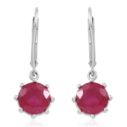 African Ruby (Rnd) Lever Back Earrings in Rhodium Plated Sterling Silver 5.000 Ct.