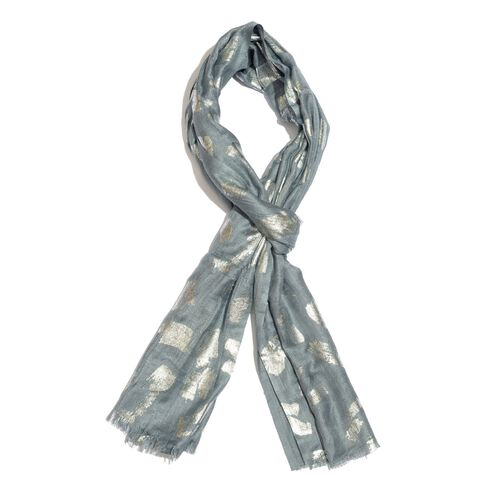 Designer Inspired - Grey and Silver Colour Foil Printed Scarf with Fringes (Size 200X65 Cm)