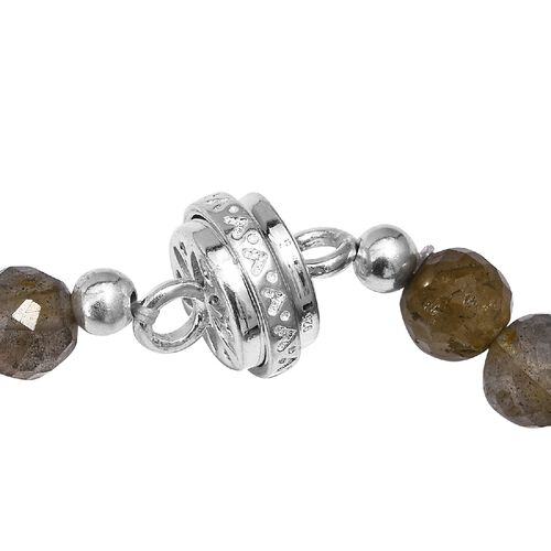 Labradorite Beads Necklace (Size 18) with Magnetic Lock in Sterling Silver 190.00 Ct.