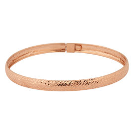 NY Close Out Deal- Diamond Cut Sterling Silver Bangle (Size 8) with Rose Gold Overlay