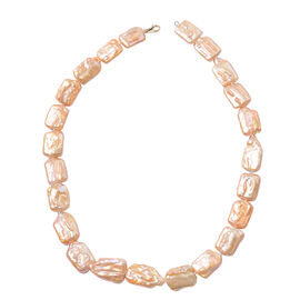 AAA Keshi Orange Pearl Beaded Necklace in 9K Yellow Gold 20 Inch
