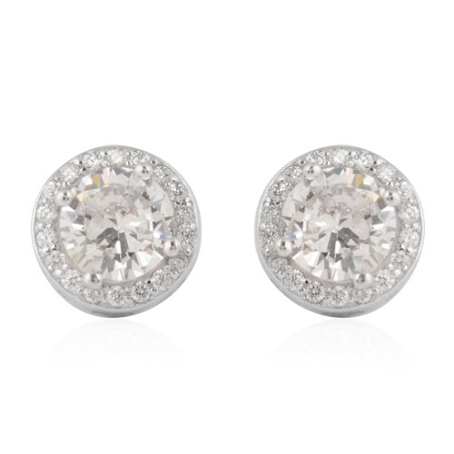 ELANZA Set of 2 -  Simulated Diamond Stud Earrings in Sterling Silver
