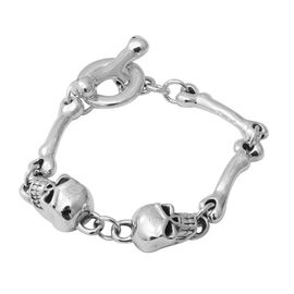 Skull and Bone Bracelet Silver 13.19 Grams 7 Inch