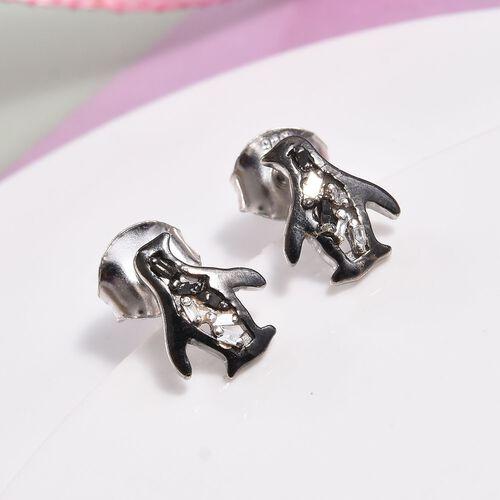 Children Black and White Diamond Penguin Earrings in Sterling Silver