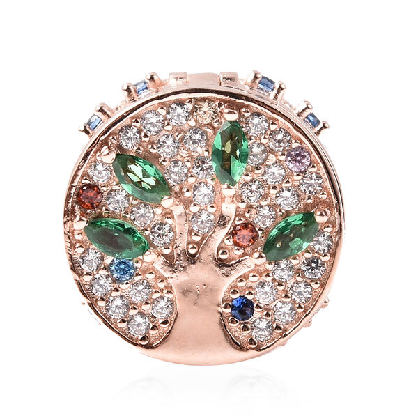 Charmes De Memoire- Simulated Emerald and Multi Colour Gemstone Openable Charm in Rose Gold Overlay