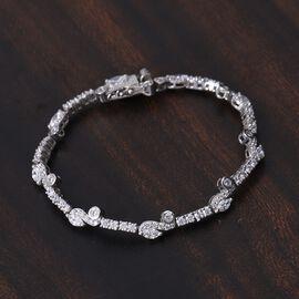J Francis Platinum Overlay Sterling Silver Bracelet (Size 7.5) Made with SWAROVSKI ZIRCONIA 10.10 Ct, Silver wt. 9.39 Gms