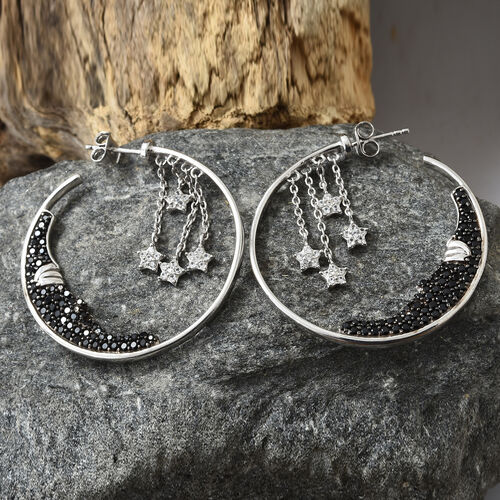 GP Boi Ploi Black Spinel (Rnd), Kanchanaburi Blue Sapphire, Natural Cambodian Zircon Hoop Earrings (With Push Back) in Platinum Overlay and Black Plating Sterling Silver 2.750 Ct, Silver wt: 10.8 Gms