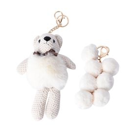 2 Piece Set - Golden Key Chain with Soft Teddy Bear and 7 Balls - White Colour