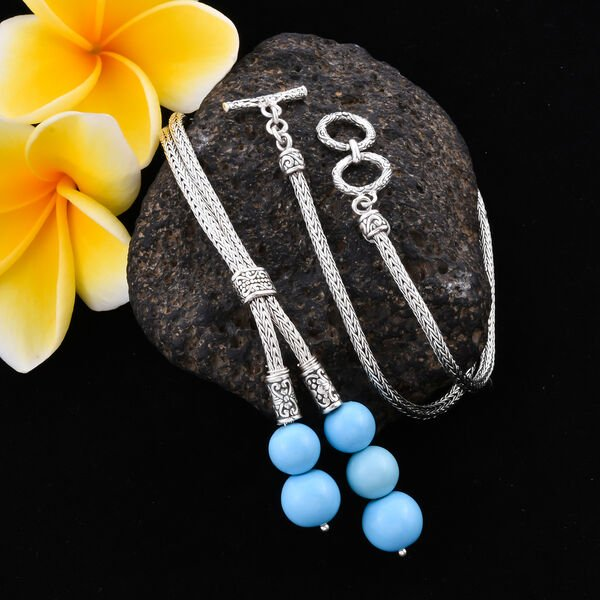 Royal Bali Collection - Arizona Sleeping Beauty Turquoise Adjustable Lariat Necklace (Size 22) in Sterling Silver 32.50 Ct, Silver wt 24.30 Gms