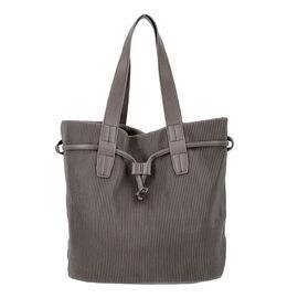 Stripe Pattern Drawstring Handbag with Magnetic Closure (Size 27x15x30 Cm) - Bronze