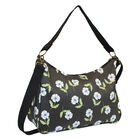 Nicole Brown Flower Pattern Shoulder Bag with 120cm Adjustable Strap in Black (Size 25x35x12 cm)