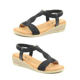 Heavenly Feet Marisol Wedge Sandals - Black
