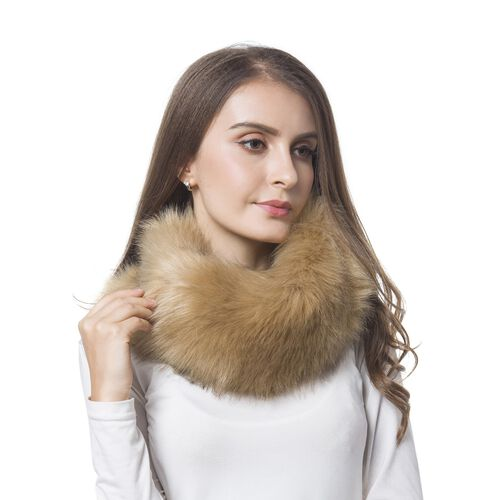Chocolate Colour Faux Fur Snood (Size 38x16 Cm)