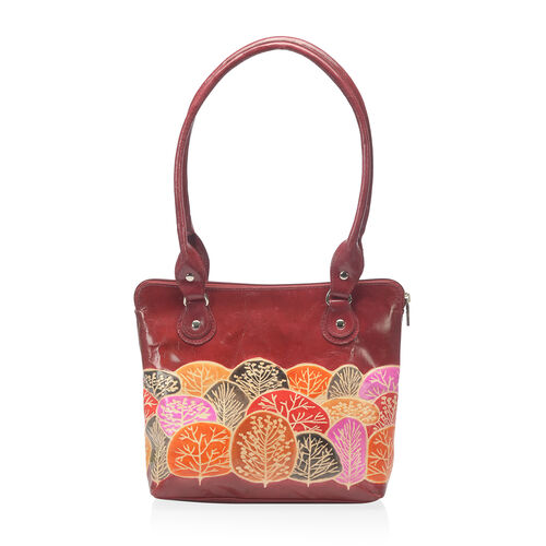 100% Genuine Leather Burgundy Colour Handpainted Tree Pattern Shoulder Bag External Zipper Pocket (S