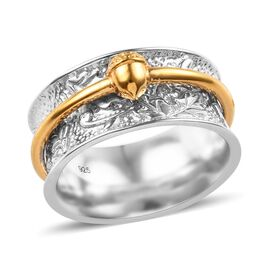 Platinum and Yellow Gold Overlay Sterling Silver Oak Fruit Band Ring