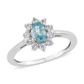 Blue Zircon (Ovl), Natural Cambodian Zircon Ring in Platinum Overlay Sterling Silver 1.00 Ct.