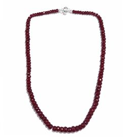 Rare Size Indian Ruby Faceted Beads Necklace (Size 20) in Sterling Silver 284.75 Ct.