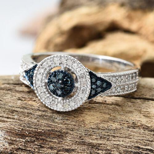 Blue Diamond (Rnd), White Diamond Ring in Platinum Overlay Sterling Silver 0.330 Ct.