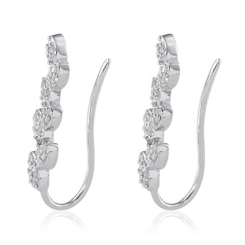 Diamond (Rnd) Leaf Climber Earrings Platinum Overlay Sterling Silver 0.250 Ct.