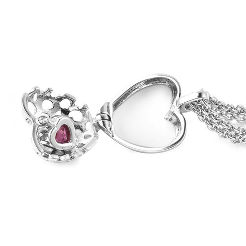 RACHEL GALLEY Angel Heart Collection - African Ruby Lattice Heart Charm Bracelet (Size 8 with Extender) in Rhodium Overlay Sterling Silver