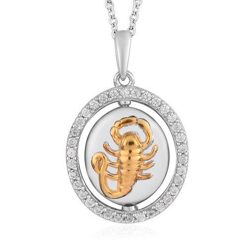 Natural Cambodian Zircon Zodiac-Scorpio Pendant with Chain (Size 20) in Yellow Gold and Platinum Ove