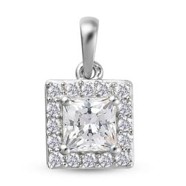 J Francis Platinum Overlay Sterling Silver Pendant Made with SWAROVSKI ZIRCONIA 2.93 Ct