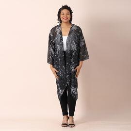 JOVIE Floral Pattern Chiffon Long Cardigan (Size 117x56cm) - Black