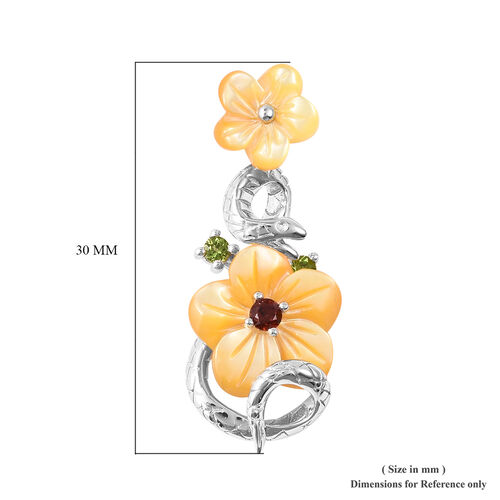 Jardin Collection - Yellow Mother of Pearl, Mozambique Garnet and Russian Diopside Snake and Floral Earrings (with Push Back) in Rhodium Overlay Sterling Silver