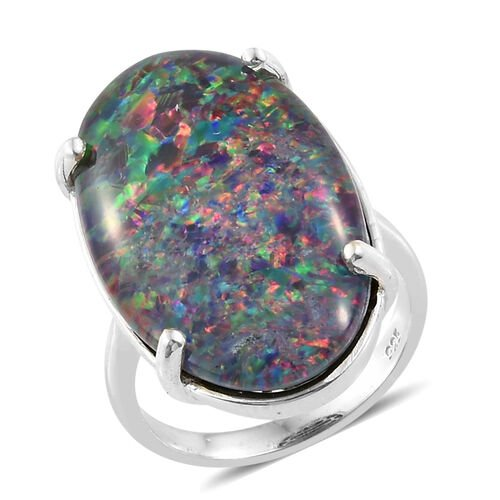 Extremely Rare Size Australian Boulder Opal (Ovl 25x15 mm) Ring in Platinum Overlay Sterling Silver