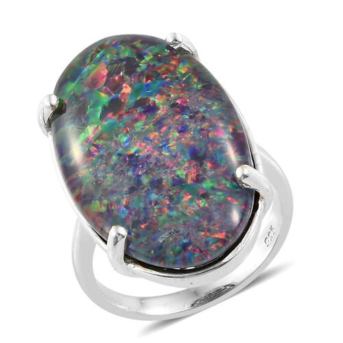 Boulder Opal Solitaire Ring in Platinum Plated 4.37 Grams