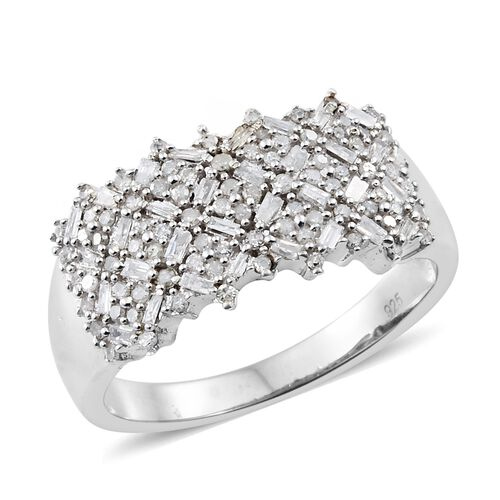 0.75 Ct Diamond Cluster Ring in Platinum Plated Sterling Silver 5.21 Grams