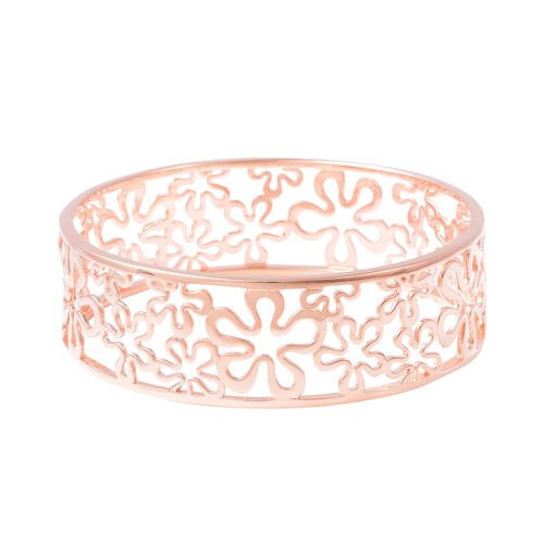 LucyQ Splash Bangle in Rose Gold Plated Sterling Silver 27.51 Grams 7.5 Inch