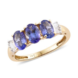 14K Yellow Gold AA Tanzanite (Ovl) Diamond Ring 1.500 Ct.