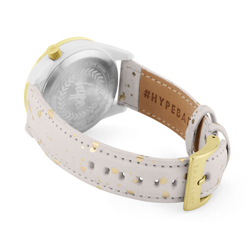 Hype Ladies Watch with White and Gold Paint Effect Strap, White Case, Gold Bezel and White Dial