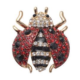 Multi Colour Austrian Crystal Enamelled Ladybird Brooch in Gold Tone