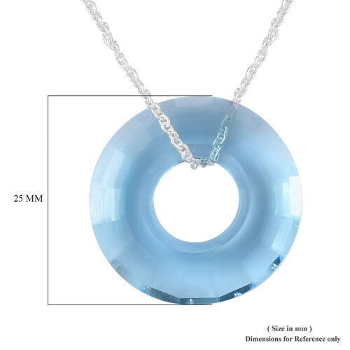 J Francis - Crystal from Swarovski Aquamarine Crystal (Rnd) Pendant with Chain (Size 30) in Platinum Overlay Sterling Silver