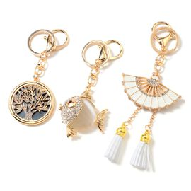 Set of 3 Simulated Cats Eye White (Rnd), Multi Colour Austrian Crystal Tree of Life, Fish and Chinese Fan Key Chain with Lobster Lock in Gold Tone with Enameled