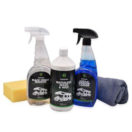 Caiman Leisure Pack 2 - Waterless Wash & Wax - Black streak remover - Acrylic Window Non Smear