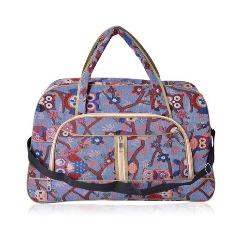 Owl Pattern Light Weight Weekend Bag with an External Zipper Pocket and Removable Shoulder Strap (Size 50x33 Cm)