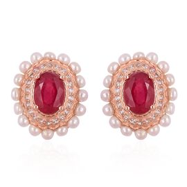 5.30 Ct African Ruby, Freshwater Pearl and Natural White Cambodian Zircon Stud Earrings in Rose Gold