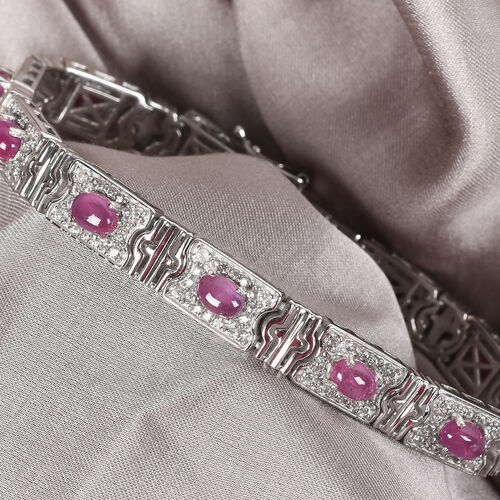 African Ruby and Natural Cambodian Zircon Bracelet (Size 7.5) in Platinum Overlay Sterling Silver 11.50 Ct, Silver wt 21.00 Gms
