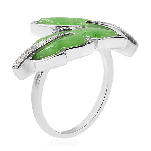 Isabella Liu Leaf Collection - Carved Green Jade and Natural Cambodian Zircon Leaf Bypass Ring in Rhodium Overlay Sterling Silver 6.44 Ct.