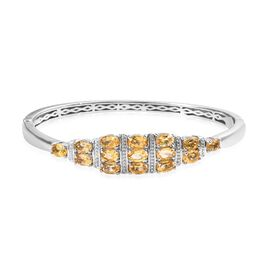 6 Carat Citrine Sleek Bangle in Platinum Plated 7.5 Inch