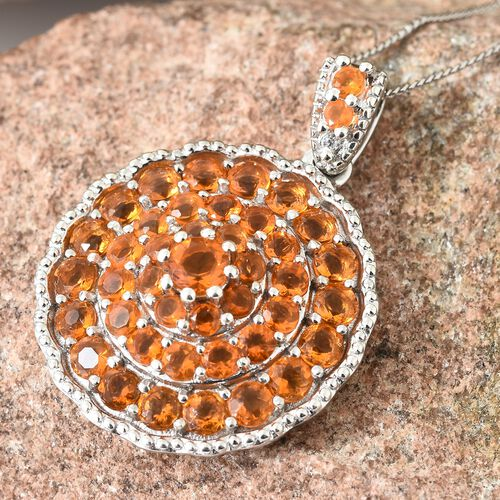 Jalisco Fire Opal (Rnd), Natural Cambodian Zircon Pendant With Chain in Platinum Overlay Sterling Silver  2.750 Ct, Silver wt 7.17 Gms.