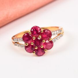 African Ruby (FF), Natural Cambodian Zircon Floral Ring in 14K Gold Overlay Sterling Silver 2.920 Ct