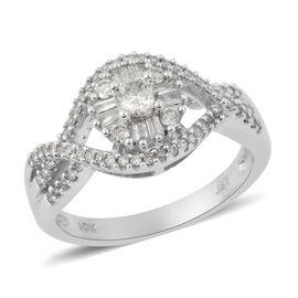 9K White Gold Diamond (I1-I2G-H) Ring 0.50 Ct.