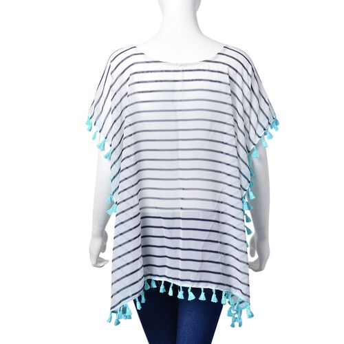 White, Black and Sky Blue Colour Stripes Pattern Poncho with Tassels (Size 70X65 Cm)