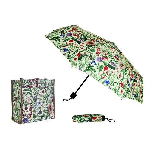 SIGNARE - 2 Piece Set Tapestry Shopping Bag with Matching Umbrella Botanical Gardens Flower - Mornin