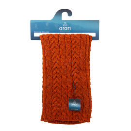 ARAN 100% Pure New Wool Irish Scarf in Burnt Orange Colour (Size One)